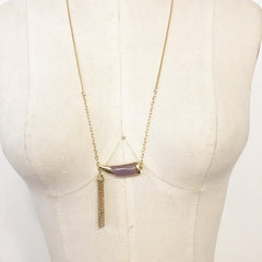 Lavender horn pendant necklace with tassel boho style