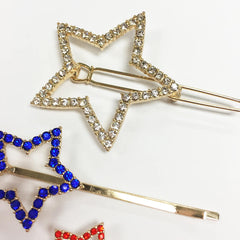 Modern and chic 2-d linear pave 3 piece hair pin set with stars, fourth of july!