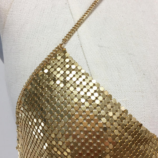 185cc8193d2 ... Gold and silver mesh metal chainmail choker bodychain crystal bralette  size small ...