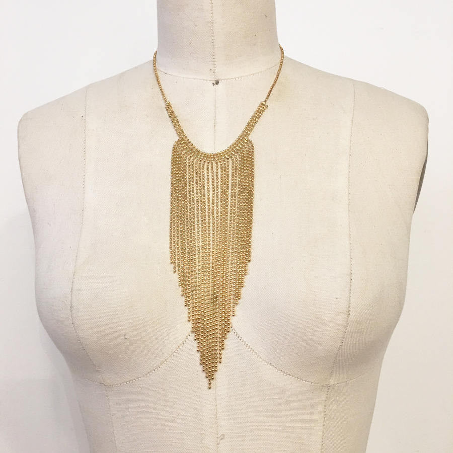 Ball chain gold plated fringe bib necklace