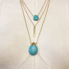 Layered dainty howlite boho pendant necklace in turquoise and black stone
