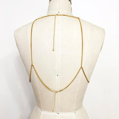 Gold plate hoop bralette body chain with bindi AB stone stickers