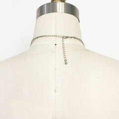 Layered dainty lariat chain necklace in silver