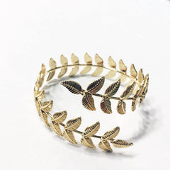 Gold twist leaf feather adjustable arm band