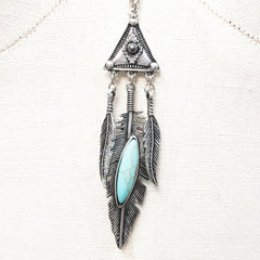 Antique Turquoise howlite effect pendant triangle necklace with feather charms