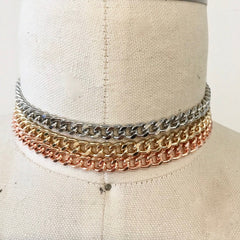 Mixed metals chain choker necklace 3 piece set