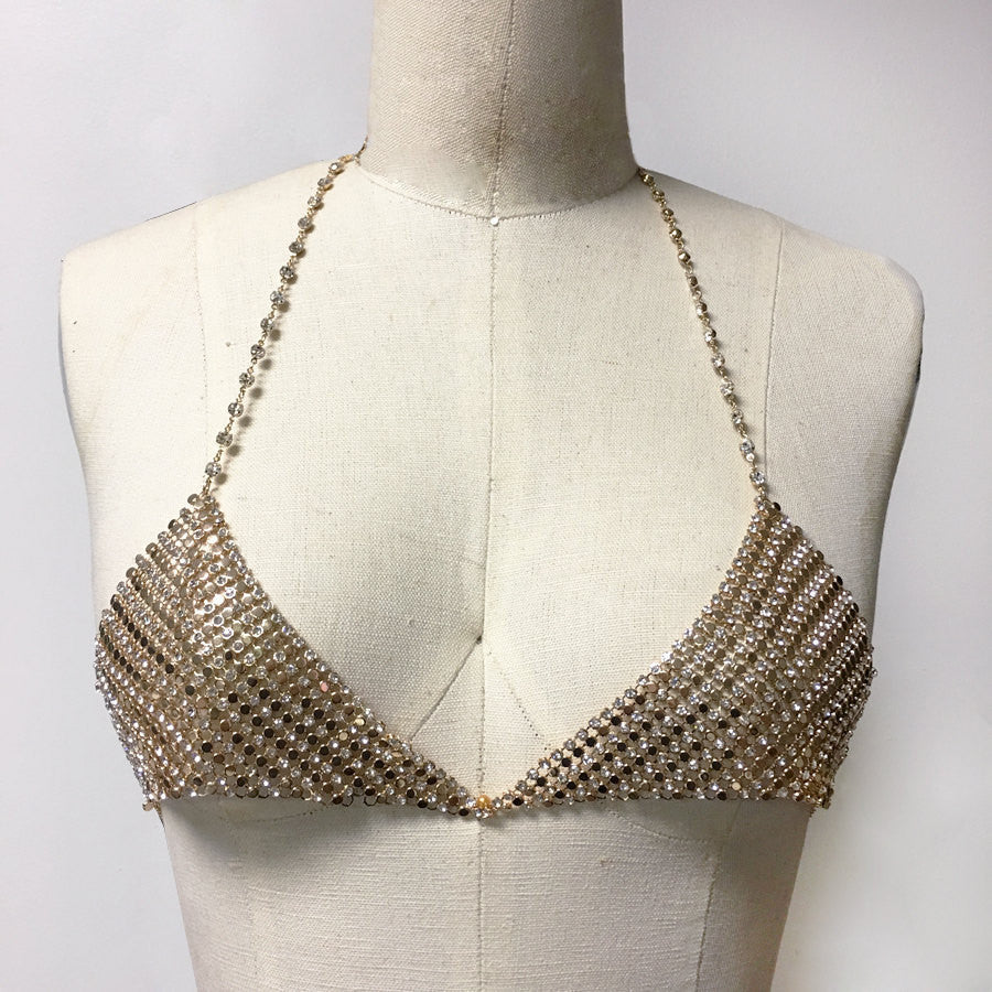 Chain bralette Disco Choker crystal bralette bra bodychain with chainmail detail