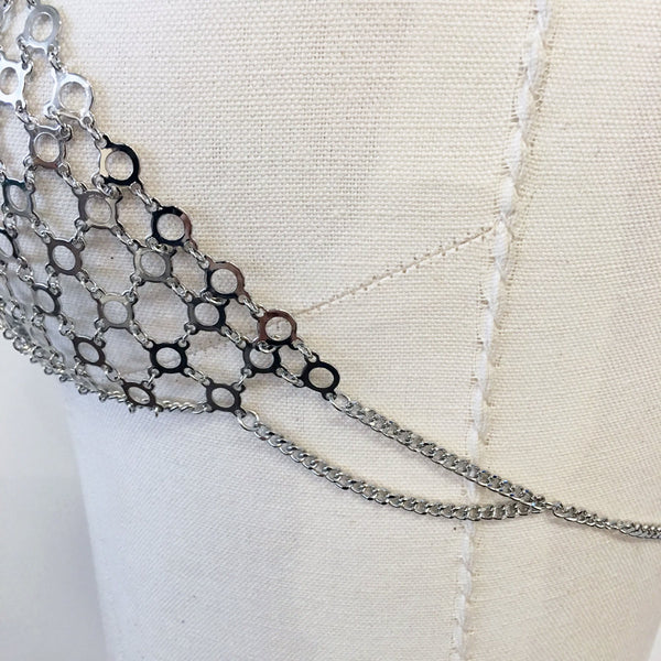 f253b27f82f0c7 ... Silver Chain bralette Choker crystal bralette bra bodychain with chainmail  detail ...