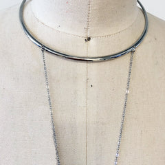 Silver Minimal and chic choker body chain, CRISS CROSS front with dainty chains