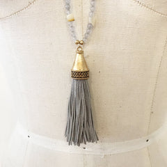 Statement glass beaded grey suede tassel necklace
