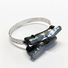 Gray aura quartz druzy bracelet with hammered silver band