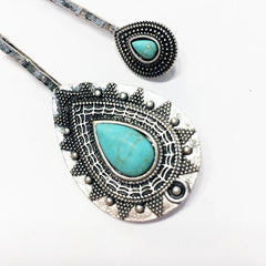 Antique silver plate boho chic turquoise howlite hair pin