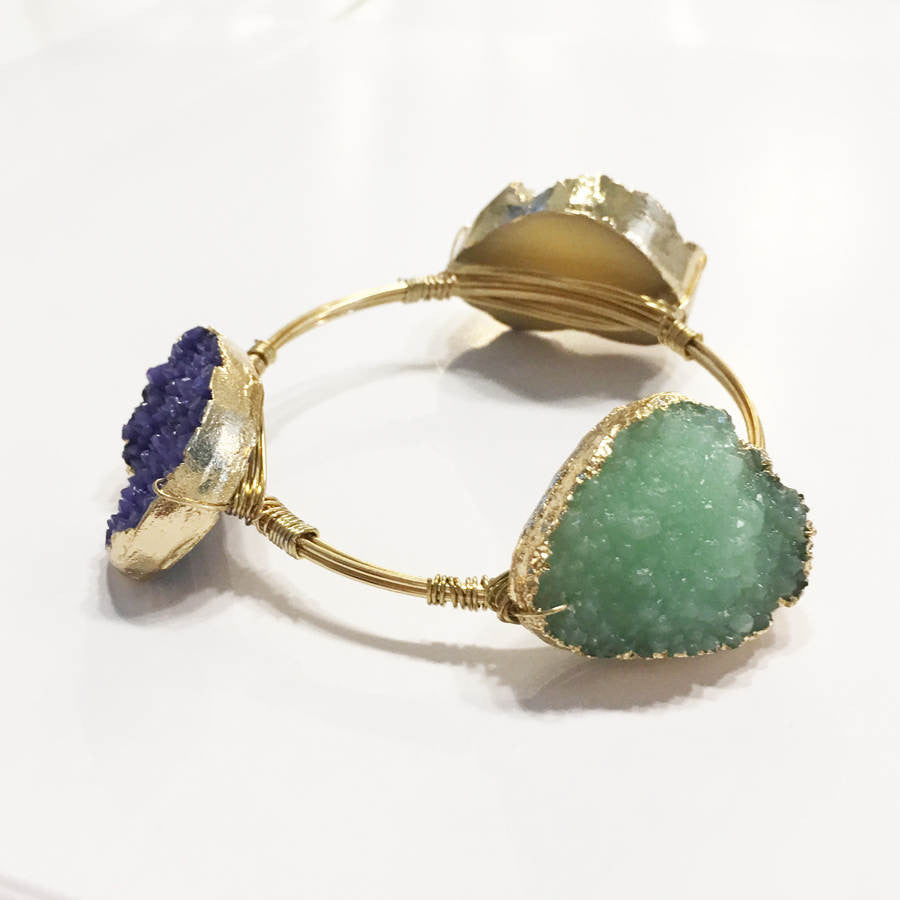 Stunning druzy style stone bracelet with wire bangle wire wrapped stone bracelet