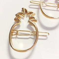 Modern and chic 2-d linear pineapple silhouette hair pin, 2 piece set.