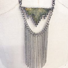 Chain fringe boho pendant necklace with druzy stone