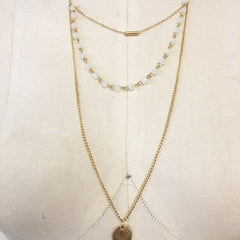 Layered opal bead stone pendant necklace with coin pendant