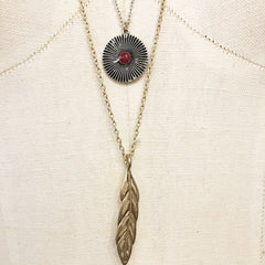 Red howlite feather boho pendant necklace layered
