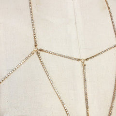 Gold plate rhinestone chain bralette body chain