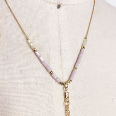 Dainty gold chain lariat necklace with pastel pink and AB colored seed beads