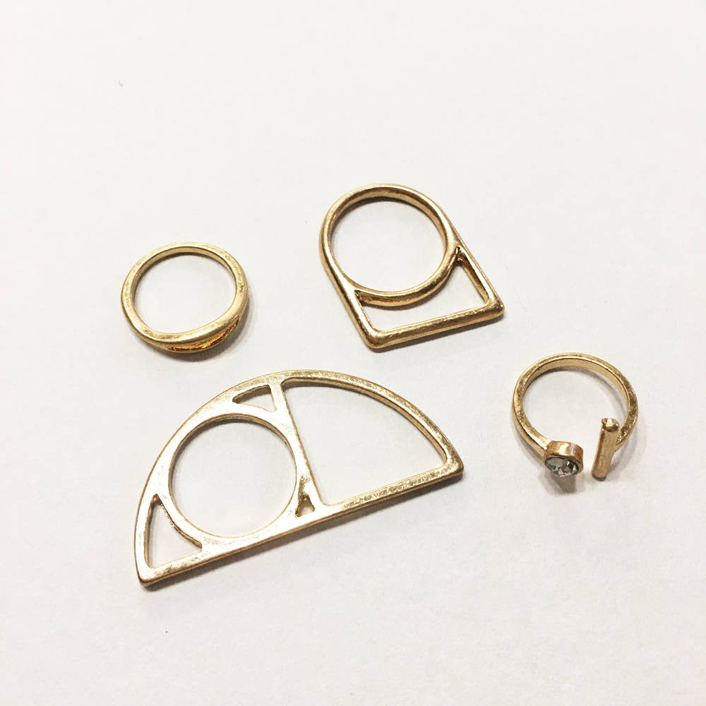Modern gold plate geometric and linear abstract 4 piece ring set