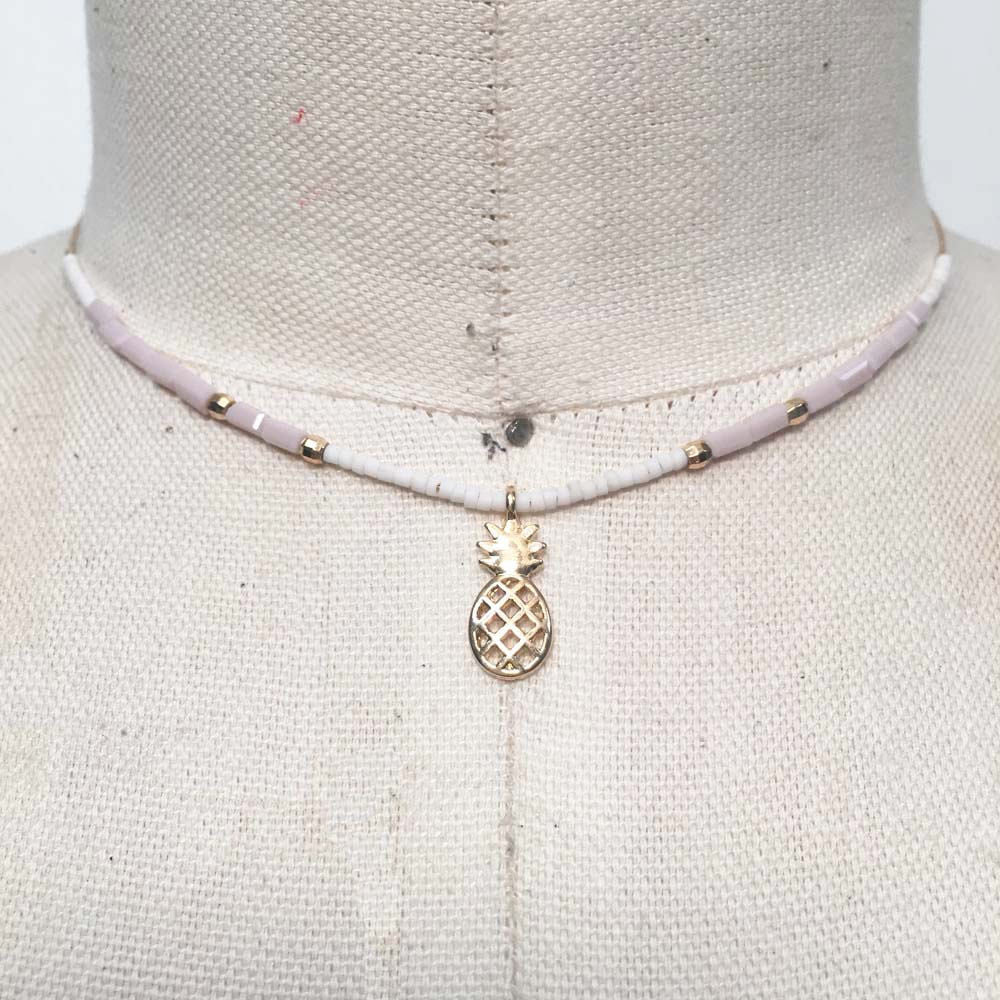 White and pastel pink pineapple seed bead choker necklace