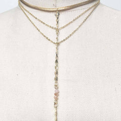 Choker Layered dainty lariat necklace with opal beads in light pink boho style