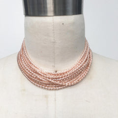 Multi chain rope chain choker necklace in rose gold and gold