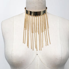 Modern minimalist sleek gold plate choker with fringe benefits!