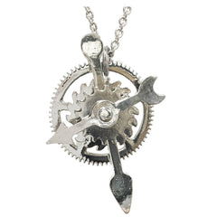 Steampunk style clock parts pendant necklace with silver chain