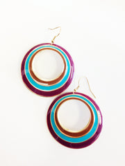 Retro hoop earring with magenta, teal and orange enamel paint gold plated with fish hooks