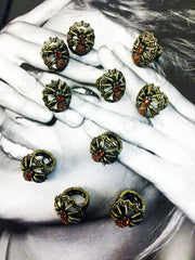 Halloween gold oxidize plate spider ring with topaz rhinestones