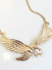 Eagle bib wing pendant necklace with adjustable gold chain