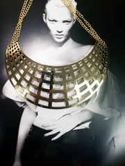 Dramatic gold plate cage necklace with double chain closure