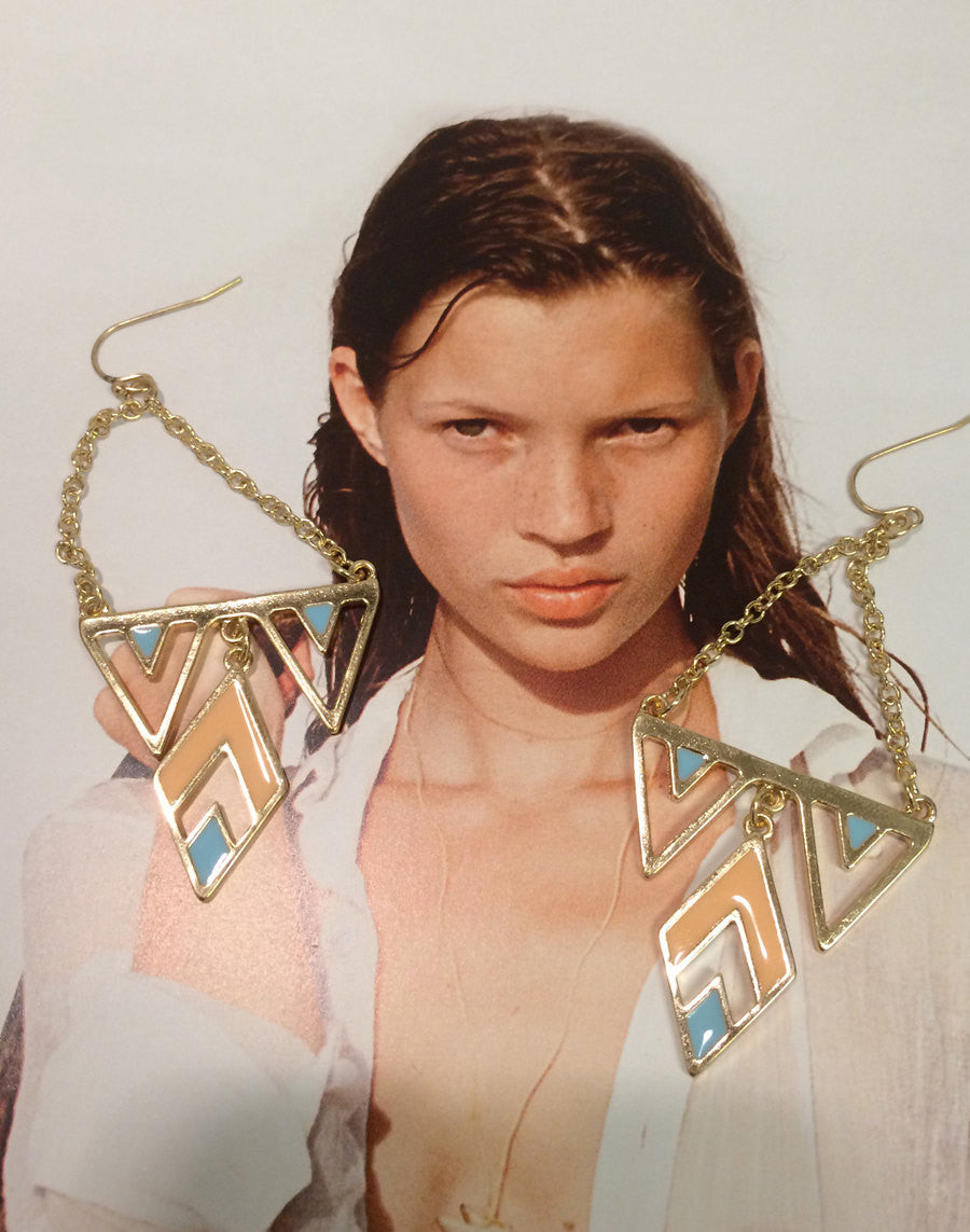 Pink and Green enamel gold plated chandelier earrings, super modern!