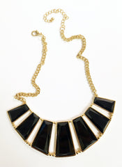 Black Bib Crescent Necklace