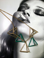 3-D pyramid metal tube bib necklace with adjustable chain