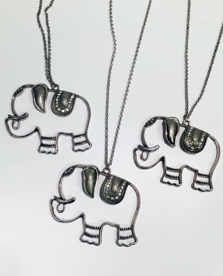 Elephant pendant cutout 2-d necklace with rhinestones