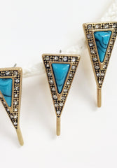 howlite earrings Triangle geometric charm resin turquoise post rhinestone earring