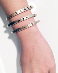 Bar text letter bracelet Type letter open cuff bracelets. Peace love taken! Love is sold out.