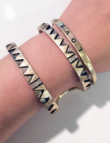 Double line aztec modern cuff in gold plate