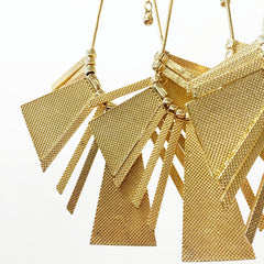 Gold textured trapezoid bib necklace with thin adjustable cord chain