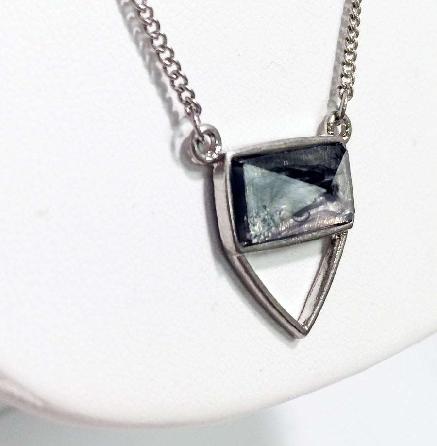 Smokey resin pendant necklace with triangle shape and silver chains, 17 inch necklace