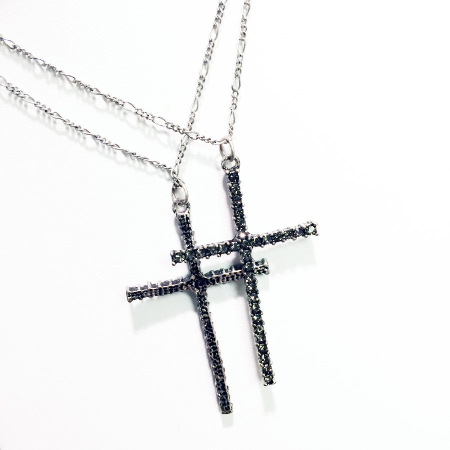 Pavé Cross pendant necklace with silver chains and rhinestones