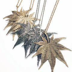 Gold and silver plate vintage leaf charm necklace with gold and silver adjustable chains