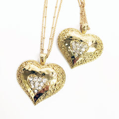 Gold heart pendant necklace with multi gold adjustable chain and rhinestone