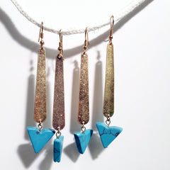 howlite earrings Gold stick necklace with unique triangle turquoise stone