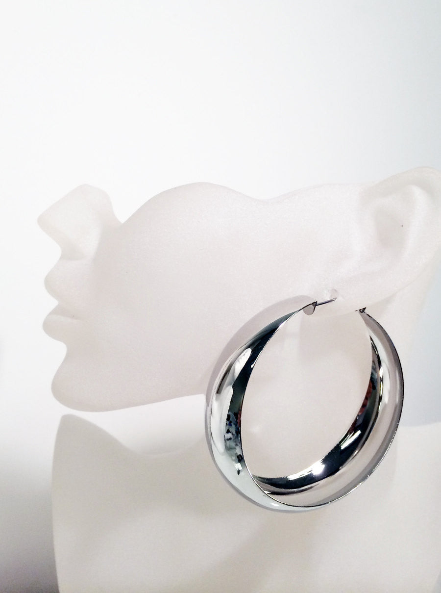 Bold silver plated hoop earrings