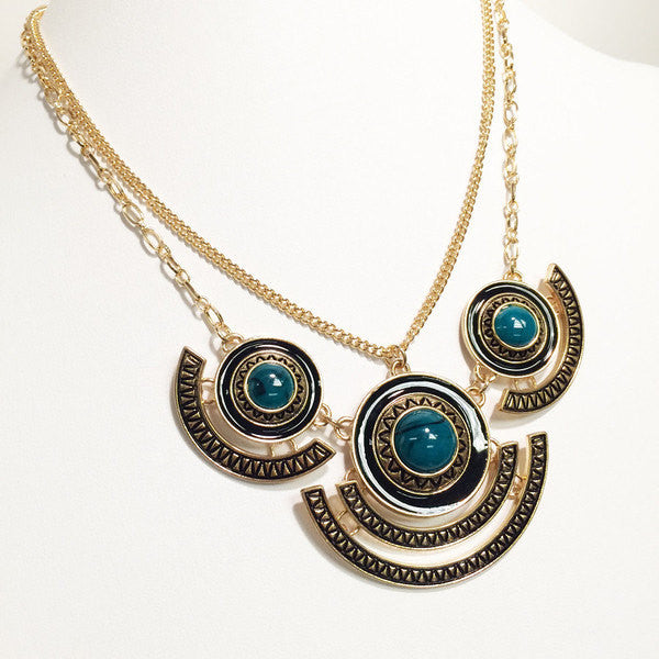 Circle stone bib 3 part necklace with resin marble designs and aztec engravings