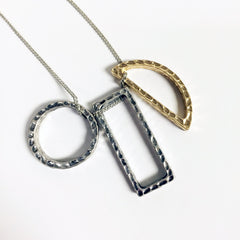 3 shape circle rectangle crescent 2-d geometric long pendant necklace with ultra cool chains