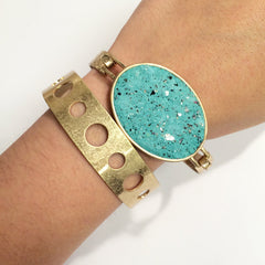 howlite bracelet Oval top turquoise stone bracelet with flat texture